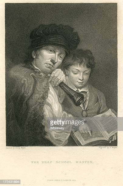 deaf school master with ear trumpet teaching boy 19th century - hearing aid stock illustrations, clip art, cartoons, & icons