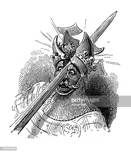 ilustrações de stock, clip art, desenhos animados e ícones de morte de um knight - luta de espadas