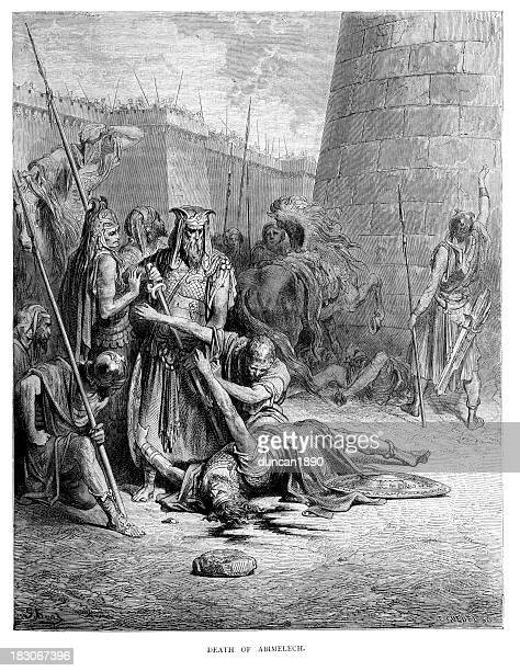 death of abimelech - gustave dore stock illustrations, clip art, cartoons, & icons