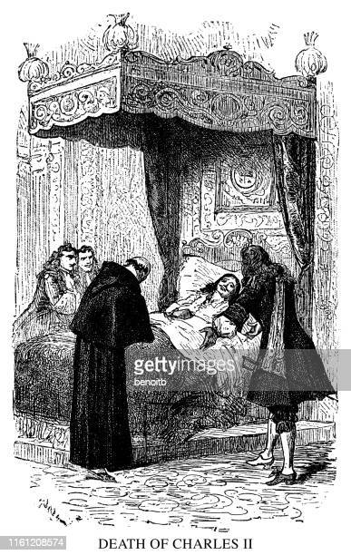 death of charles ii - terminal illness stock illustrations, clip art, cartoons, & icons