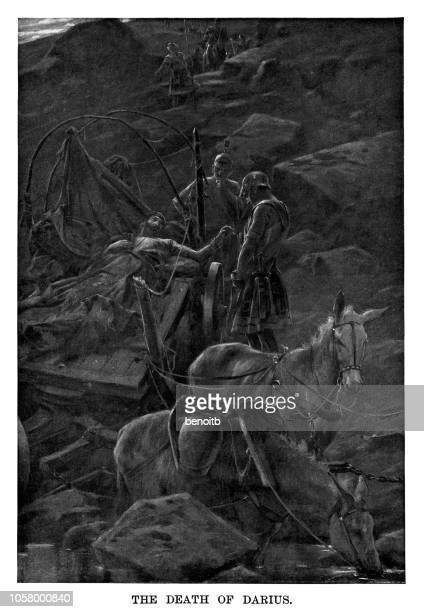 death of darius iii - darius iii stock illustrations