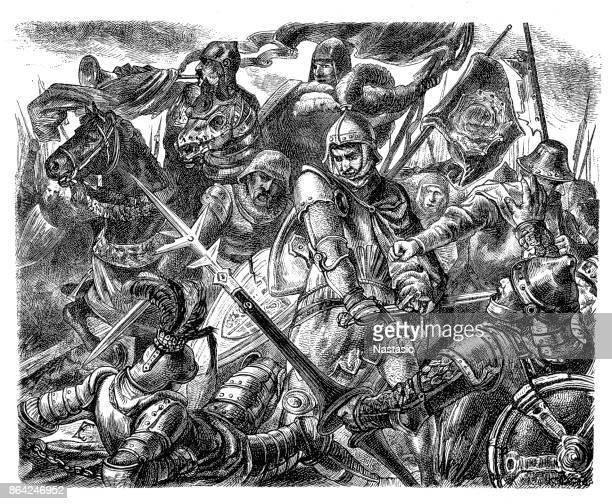 """stockillustraties, clipart, cartoons en iconen met """"death of dom pedro."""" pedro de wrede wordt gedood door hendrik ii van castilië - pedo"""