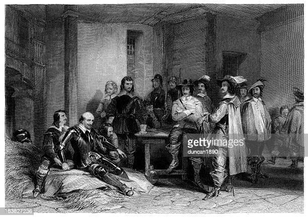 death of earl lindsey - cavalier cavalry stock illustrations, clip art, cartoons, & icons