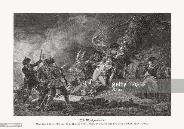 ilustraciones, imágenes clip art, dibujos animados e iconos de stock de muerte del general montgomery, grabado en madera, publicado 1886 - american revolution