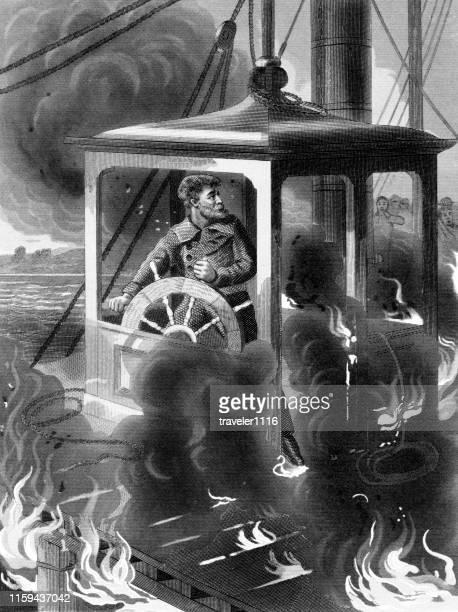 death of john maynard on the steamboat erie - lake erie stock illustrations, clip art, cartoons, & icons