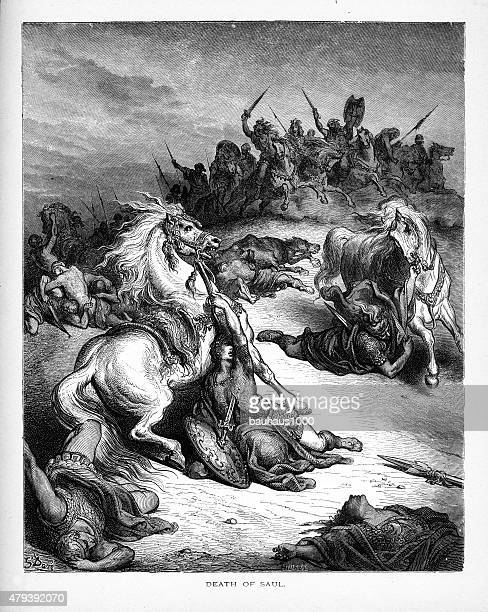 death of king saul biblical engraving - javelin stock illustrations