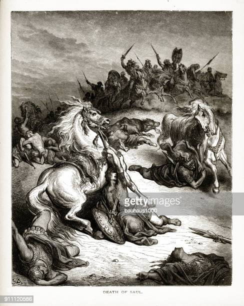 ilustraciones, imágenes clip art, dibujos animados e iconos de stock de la muerte del rey saul bíblica grabado - personas leyendo la biblia