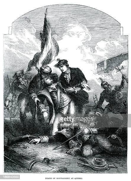 ilustraciones, imágenes clip art, dibujos animados e iconos de stock de la muerte de montgomery en quebec - american revolution