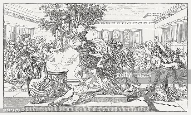 death of priam, greek mythology, wood engraving, published in 1880 - trojan war stock illustrations, clip art, cartoons, & icons