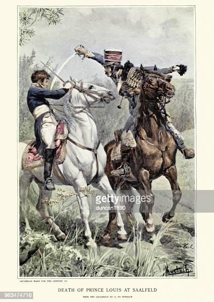 ilustrações de stock, clip art, desenhos animados e ícones de death of prince louis of prussia at battle of saalfeld - luta de espadas