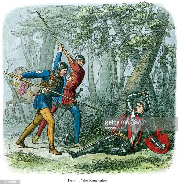 death of richard neville, warwick the kingmaker - circa 15th century stock illustrations, clip art, cartoons, & icons