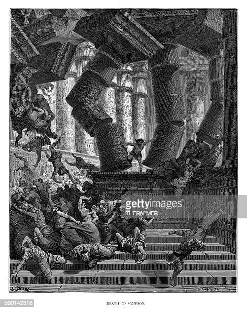 death of samson engraving 1870 - afterlife stock illustrations, clip art, cartoons, & icons