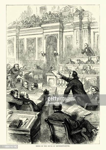 debatte im repräsentantenhaus, bürgerkriegszeit, 19. jahrhundert - senat stock-grafiken, -clipart, -cartoons und -symbole