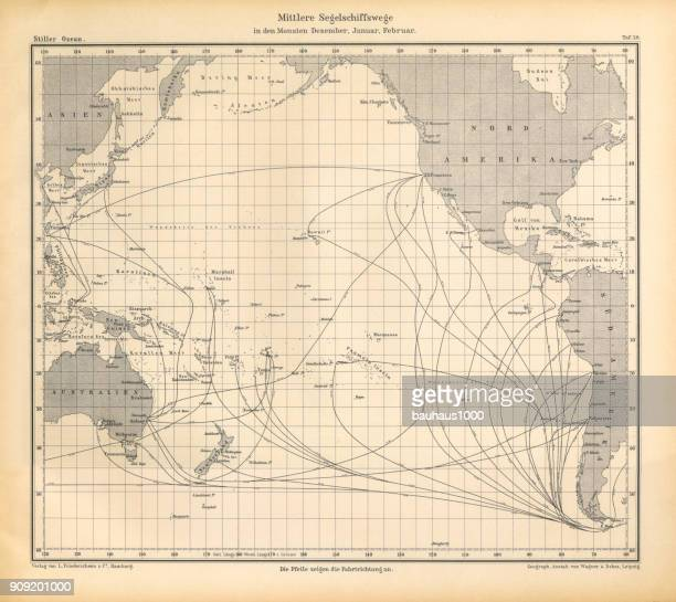 December, January and February Sailing Ship Routes Chart, Pacific Ocean, German Antique Victorian Engraving, 1896