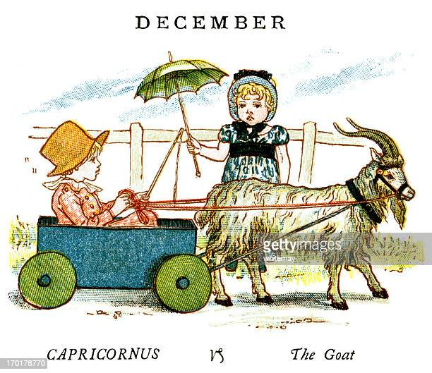 illustrations, cliparts, dessins animés et icônes de décembre-kate greenaway, 1884 - signe du capricorne