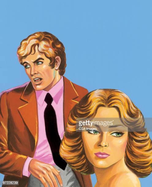 deception - pretty brunette woman cartoon stock illustrations