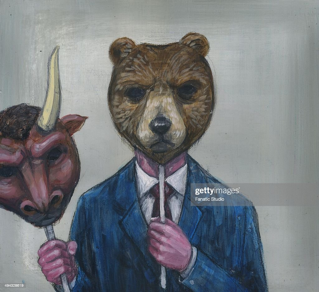 Deceptive image of man holding bull mask while wearing bear mask : stock illustration