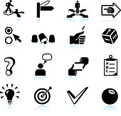 Decision making and choices black & white vector icon set