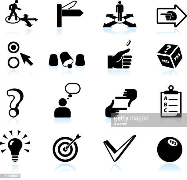 ilustraciones, imágenes clip art, dibujos animados e iconos de stock de la toma de decisiones y opciones negro & conjunto de iconos de vector blanco - uncertainty