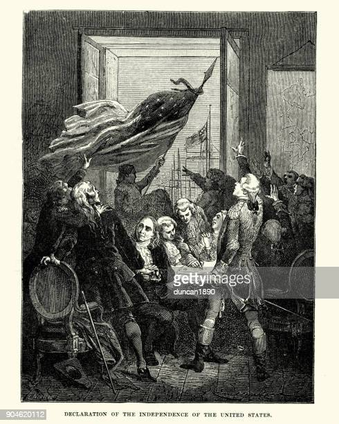 declaration of the independence of the united states - declaration of independence stock illustrations