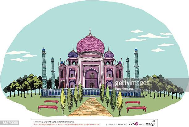 decorated monument with formal garden - onion dome stock illustrations, clip art, cartoons, & icons