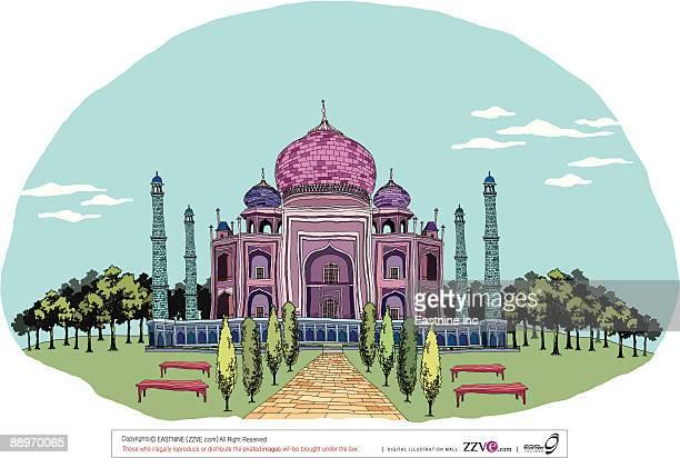 ilustrações, clipart, desenhos animados e ícones de decorated monument with formal garden - cúpula estilo russo