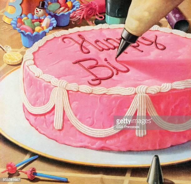 ilustraciones, imágenes clip art, dibujos animados e iconos de stock de decorar pastel de cumpleaños - decorar