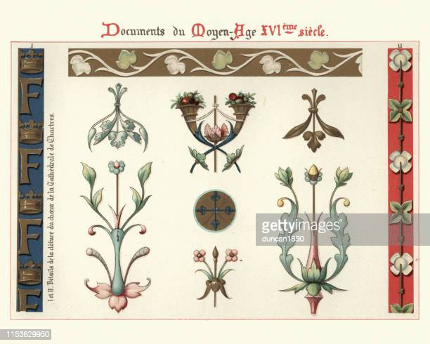decoration, floral design elements and borders, 16th century - 16th century style stock illustrations