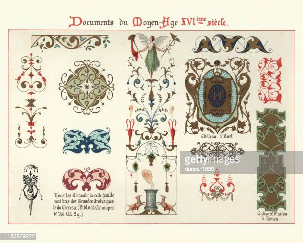 decoration, scroll work and design elements of the 16th century - 16th century style stock illustrations