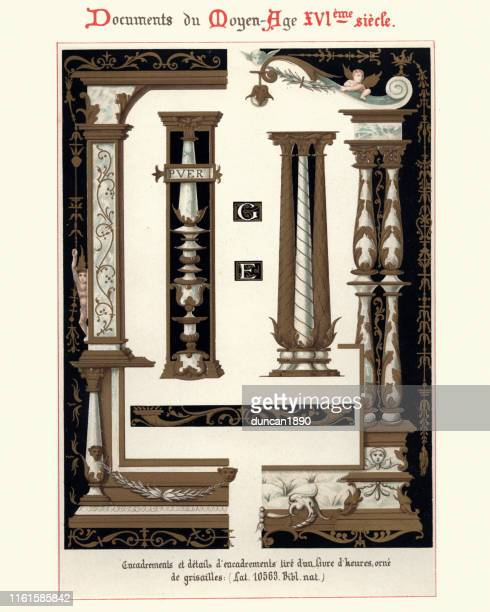 decorative architectural design elements, 16th century style, columns - 16th century style stock illustrations
