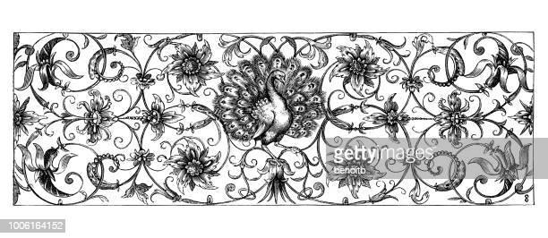ilustrações, clipart, desenhos animados e ícones de banner decorativa - peahen