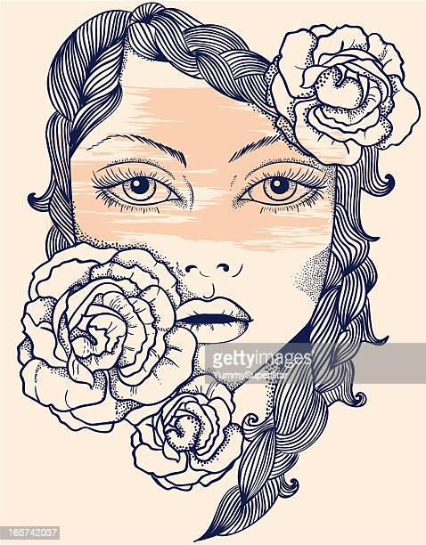 decorative beautiful woman face. - braided hair stock illustrations, clip art, cartoons, & icons