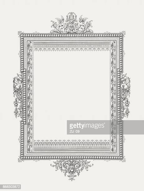 Decorative frame with copy space, wood engraving, published in 1887