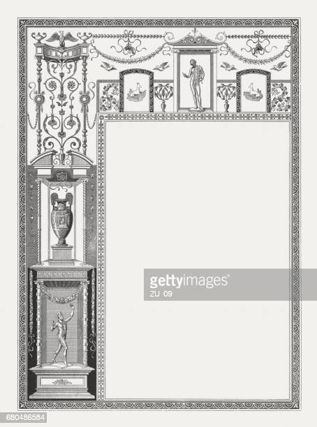 Decorative frame with Pompeian motifs, wood engraving, published in 1884