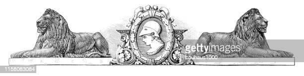 装飾的なライオンズブックエンド若い女性の肖像画を守る、英国のビクトリア朝彫刻、1875年 - 古代の遺物点のイラスト素材/クリップアート素材/マンガ素材/アイコン素材