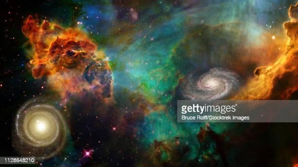ilustraciones, imágenes clip art, dibujos animados e iconos de stock de deep space composition. - galaxiaespiral