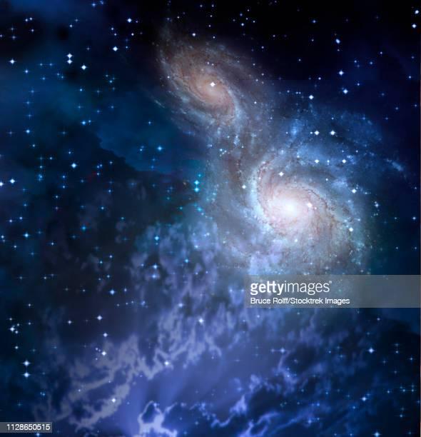 ilustraciones, imágenes clip art, dibujos animados e iconos de stock de deep space. two merging galaxies - galaxiaespiral