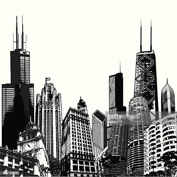 deepdish chicago megascape - chicago stock illustrations, clip art, cartoons, & icons