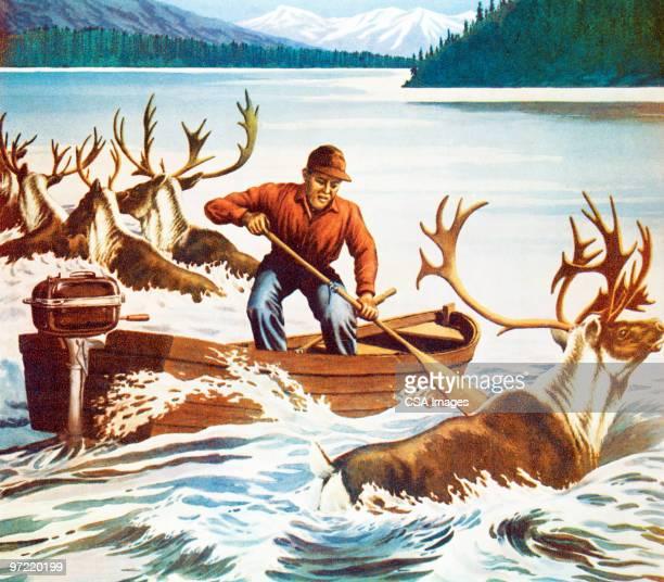 deer hunter - animals hunting stock illustrations