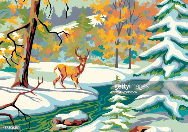 deer in the snow - stag stock illustrations