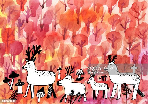 deer in the woods in autumn illustration - young animal stock illustrations, clip art, cartoons, & icons