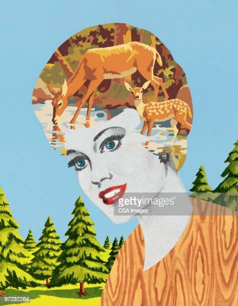 deer-head woman - painted image stock illustrations