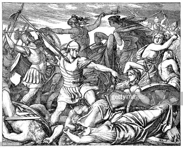 defeat of the cimbri at vercellae 101 b.c - bas relief stock illustrations