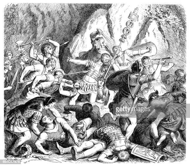defeat of the fabians - etruscan stock illustrations