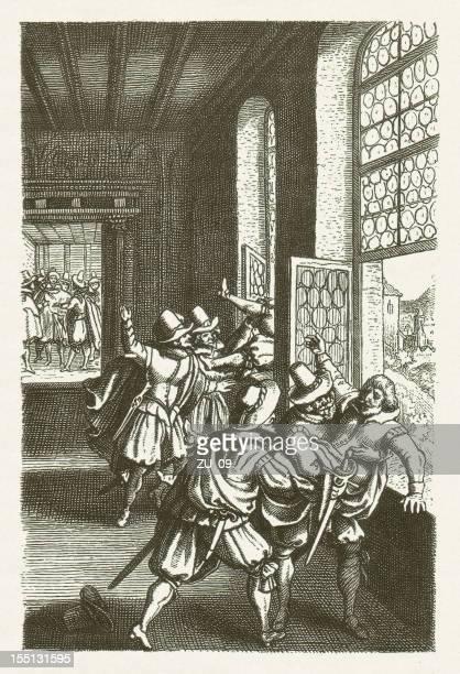 defenestration of prague 1618, wood engraving, published in 1881 - prague stock illustrations, clip art, cartoons, & icons