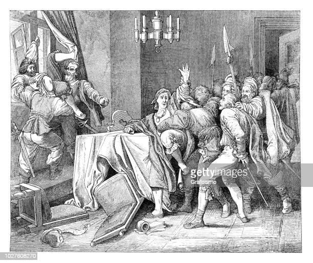 defenestration of prague czech republic illustration - prague stock illustrations, clip art, cartoons, & icons