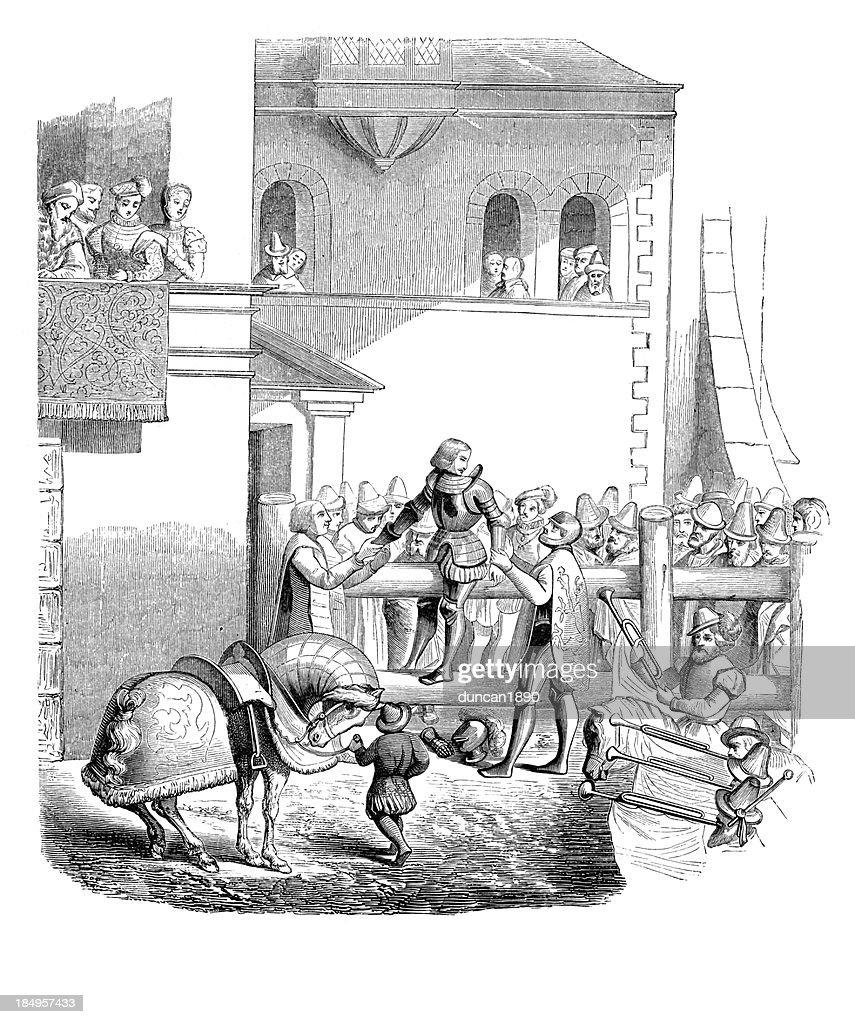 Degradation of a knight : stock illustration