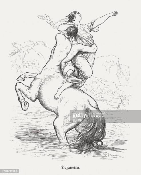 Deianira kidnapped by the centaur Nessus, wood engraving, published 1879
