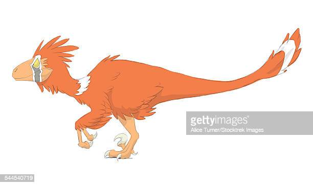 deinonychus pencil drawing with digital color. - dromaeosauridae stock illustrations