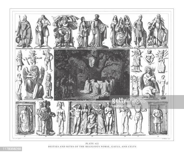 deities and rites of the religious norse, gals and celts, engraving antique illustration, published 1851 - roman god stock illustrations